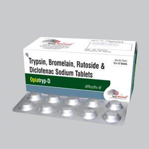 Trypsin 48mg + Bromelain 90mg + Rutoside 100mg + Diclofenac 50mg